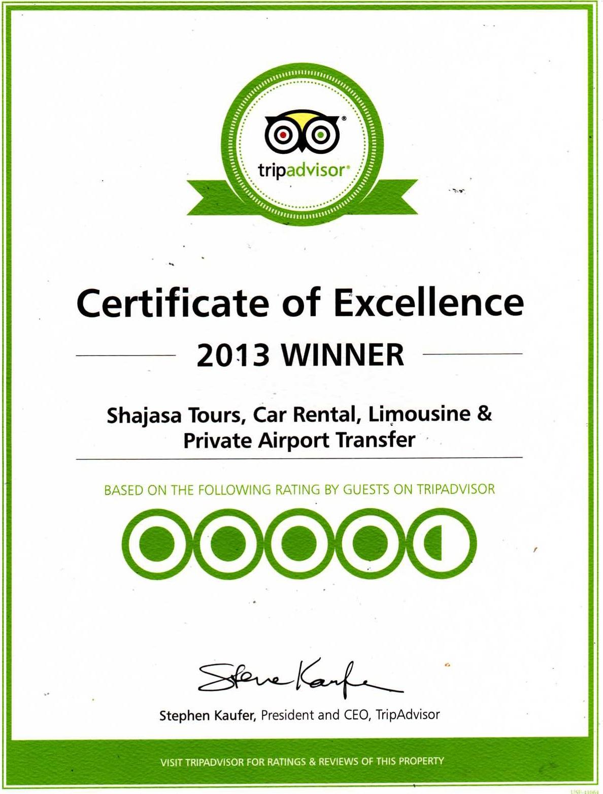 Shajasa Travel TripAdvisor Certificate Of Excellence 2013